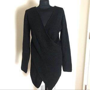 Fashion Nova Black Cross-Over Sweater